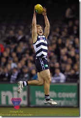 Gary Ablett takes an overhead uncontested mark on the wing. Geelong defeated Western Bulldogs at Telstra Dome, AFL Round 16, 20 July 2007. Image: Derrick den Hollander